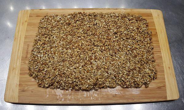 Blog on Life recipe honey caramelized brittle seeds wet wooden board